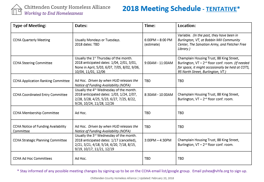 CCHA Meeting Schedule | Vermont Coalition to End Homelessness